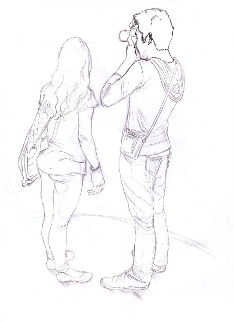 Photographer couple pencil sketch by samukal el