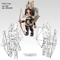 Lowpoly Fran wireframe