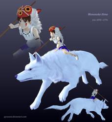 Mononoke Hime + wolf by Pyroxene