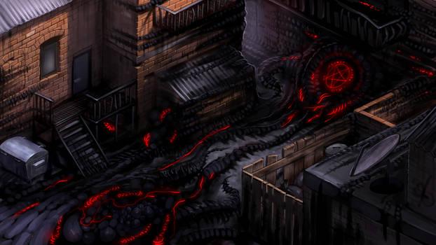 2D survival horror game mockup - corrupted alley