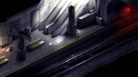2D survival horror game mockup - subway by Pyroxene