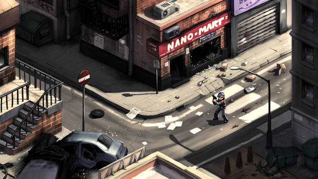 2D survival horror game mockup - city streets