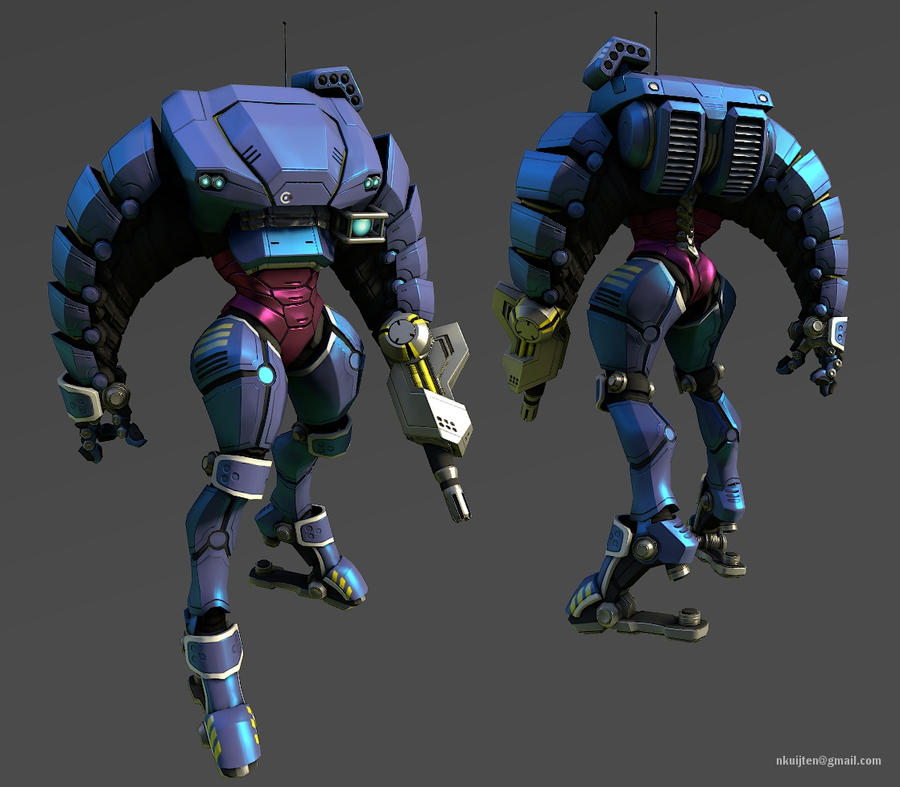 Mech armor suit lowpoly - posed by Pyroxene