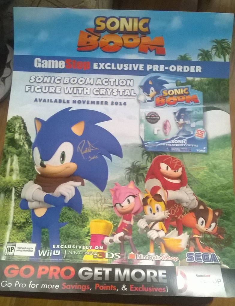 Sonic Boom GameStop Ad Poster with Autographs