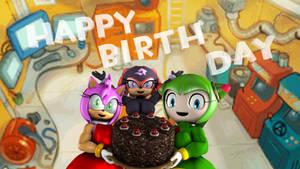 Team GFs with My Birthday Cake