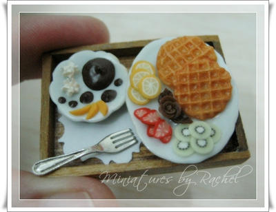 Dollhouse Size Yummy Waffle by ToothFairyMiniatures