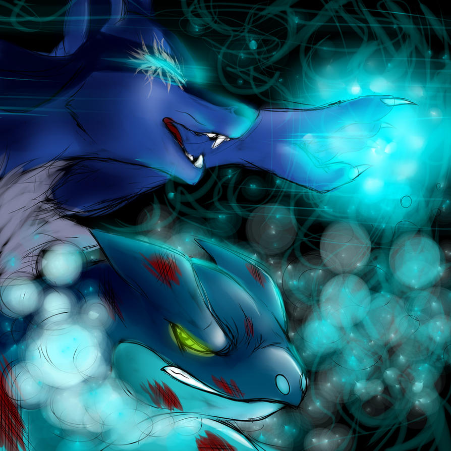 Double battle-- Lucario and Frogadier by w0lf--61