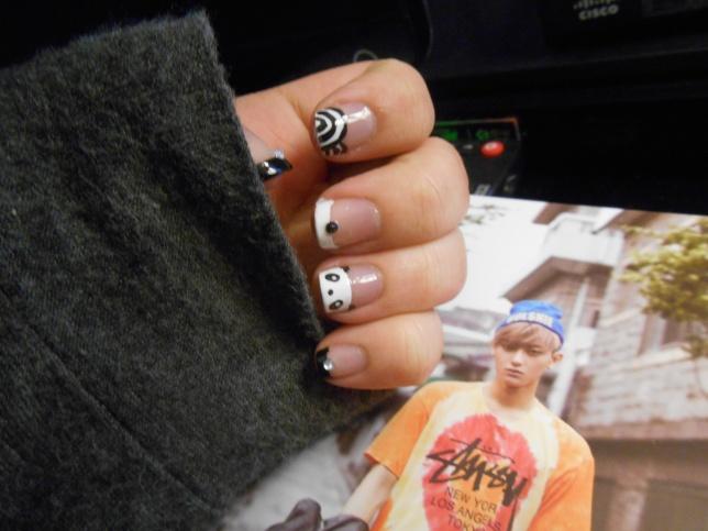 Panda Nails by Ebony-Rose13
