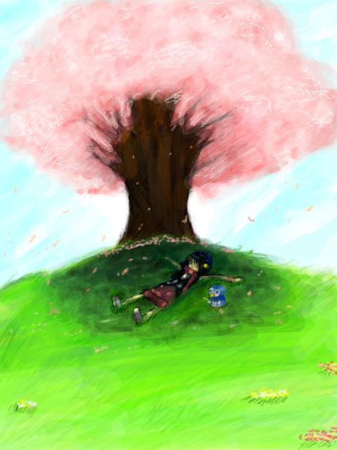 Under a Cherry Blossom Tree by izumi07