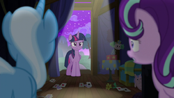Trixie and Starlight look at an angry Twilight S6E by XaldinWolfgang