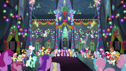 Ponies sing together in the Castle of Friendship S by XaldinWolfgang