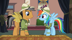 Quibble Pants and Rainbow Dash dressed as Daring D by XaldinWolfgang