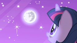 Twilight looks up at the moon S1E01 by XaldinWolfgang