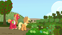 Big McIntosh and Applejack looking at Sweet Apple  by XaldinWolfgang