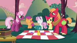 Cheerilee and Big Mac with CMC picnic S02E17 by XaldinWolfgang