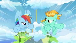 Rainbow competing with Lightning S3E07 by XaldinWolfgang