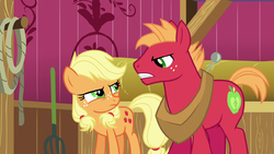 Young Applejack and Big McIntosh glare at each oth by XaldinWolfgang