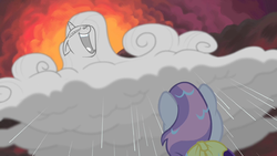 Sweetie sees Rarity-cloud laughing maniacally S4E1 by XaldinWolfgang