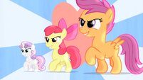 CMC walking with heart in the background S4E05 by XaldinWolfgang
