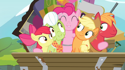 Pinkie Pie hugging all of the Apples S4E09 by XaldinWolfgang