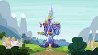 Mane 6 staring at the castle S4E26 by XaldinWolfgang