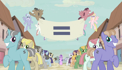 Creepy smiling ponies with equals sign banner S5E1 by XaldinWolfgang
