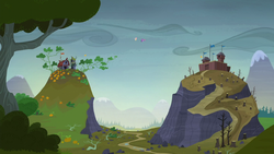 Twilight and Fluttershy hovering between two hills by XaldinWolfgang