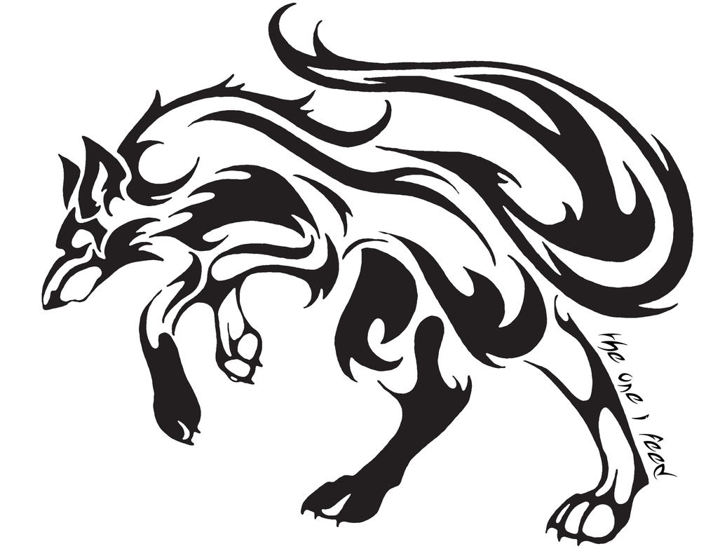 Tribal Wolf Tattoo By Mireille Rae