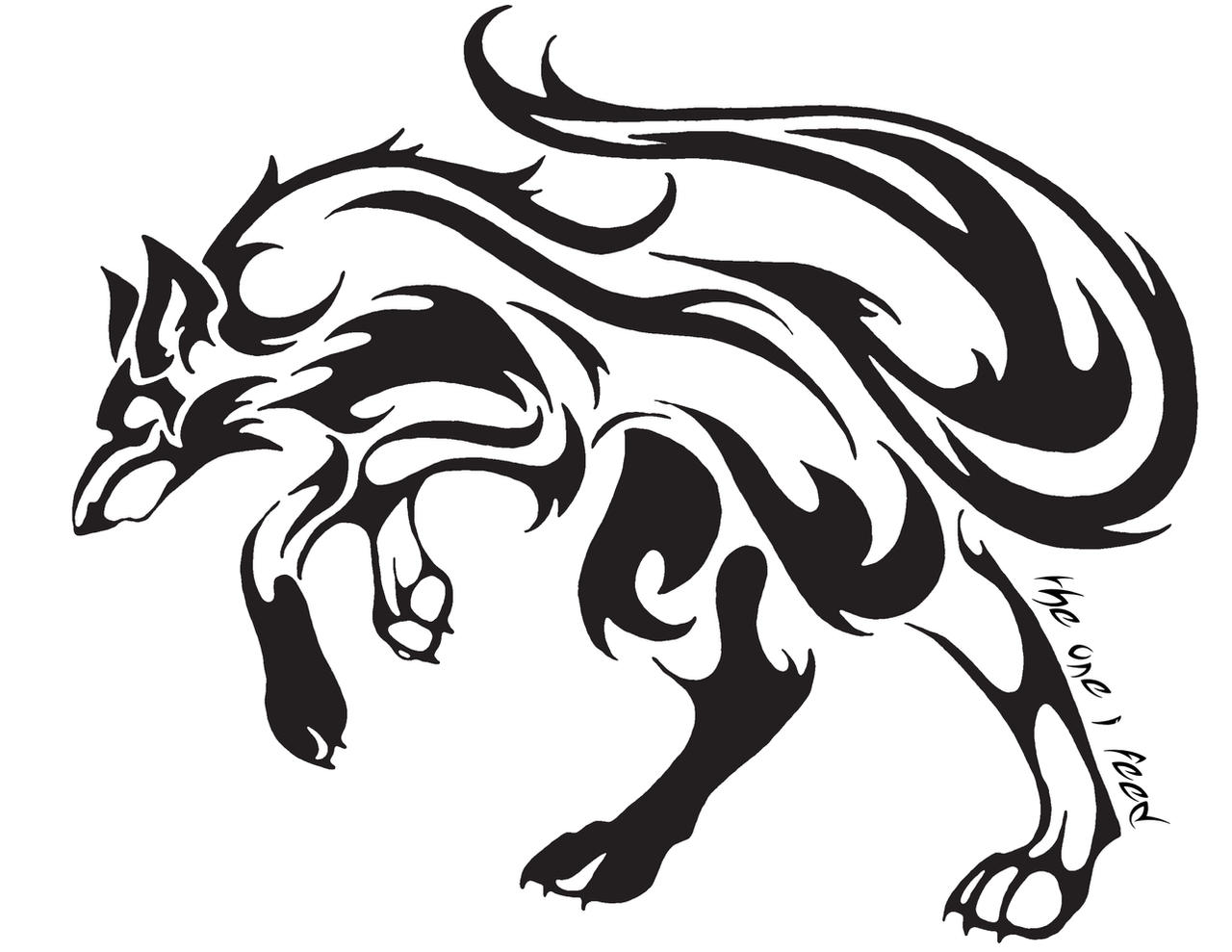 Tribal wolf tattoo by mireille rae on deviantart for Tribal wolf tattoo