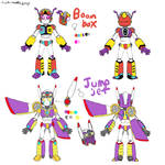 Boombox and Jumpjet ref sheet by Cookie-Waffle