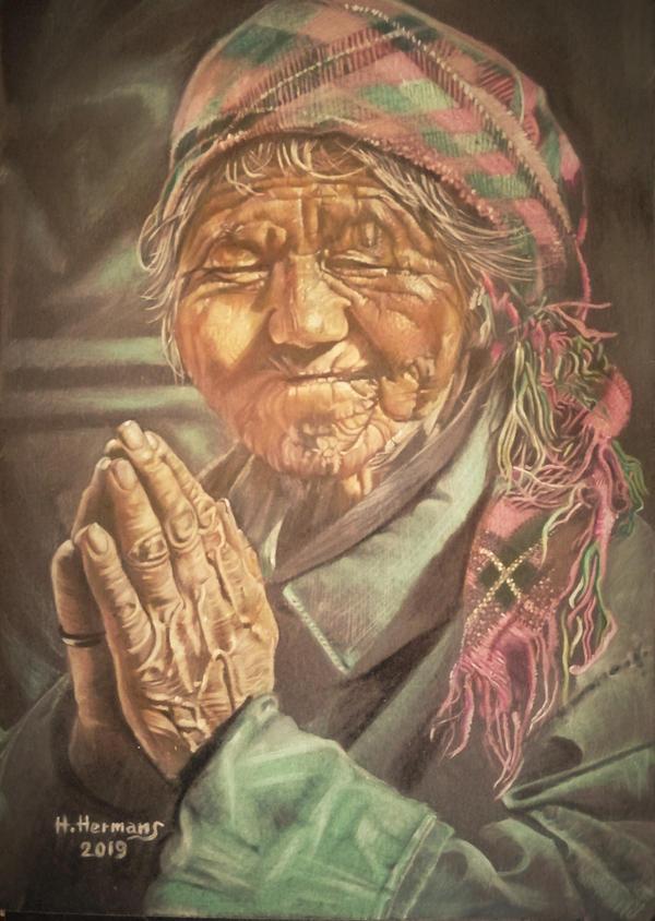 Old Nepalese woman, praying by HendrikHermans