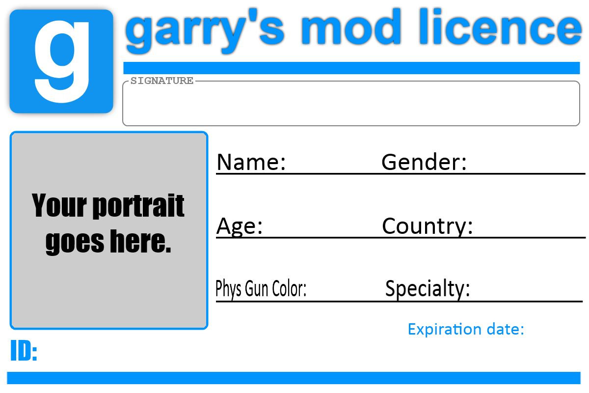 Gmod Licence Template By TBWinger92 Gmod Licence Template By TBWinger92  Membership Id Card Template