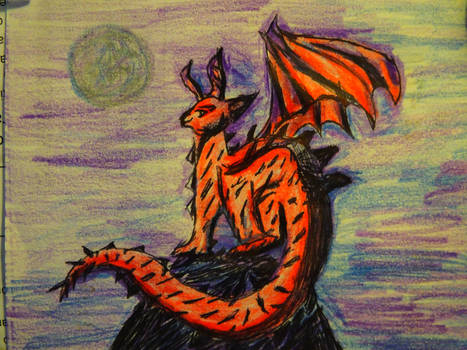 A Red Dragon Under a Purple Blueish Moon