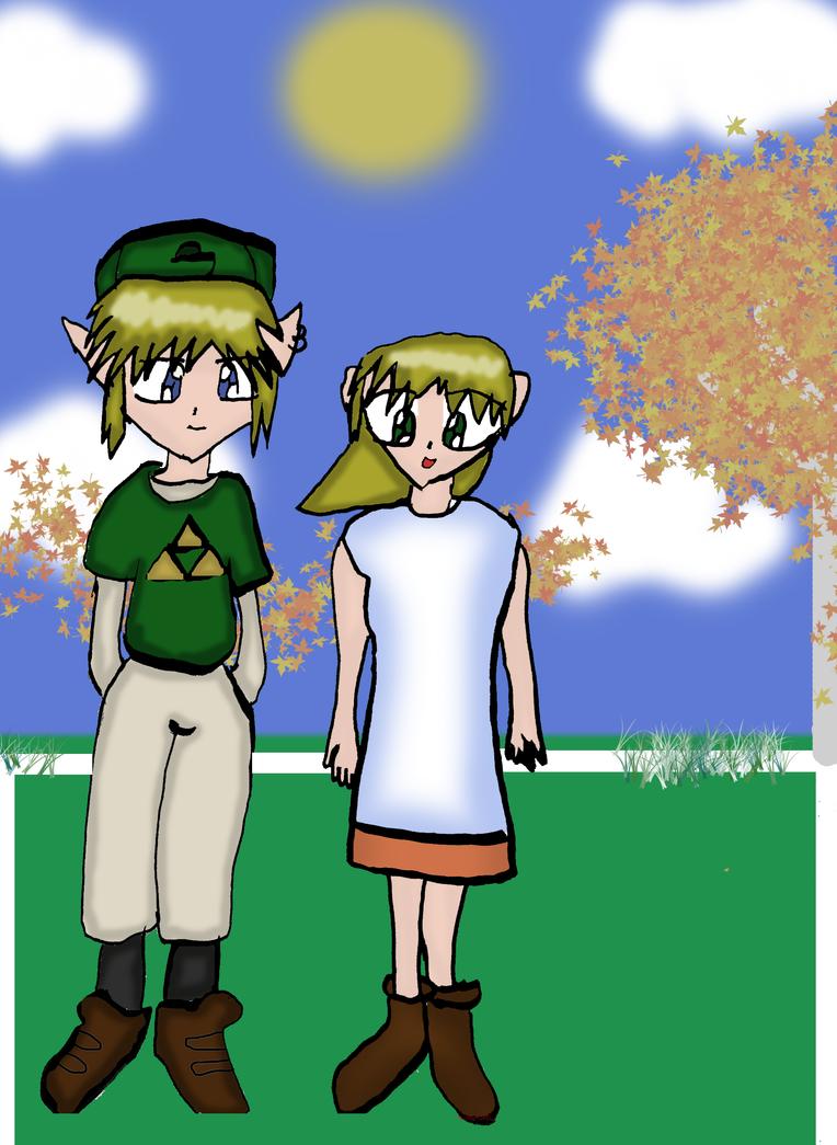Link and Ilia in the fall by Reinohikari