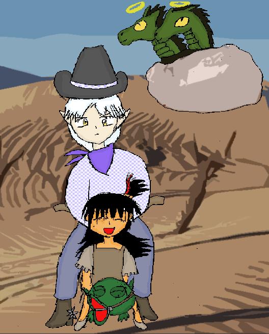 Western Sesshoumaru and Rin by Reinohikari