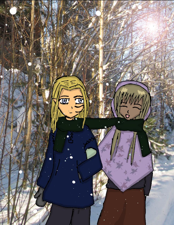 Alk and Mijam walking in the Winter-lands by Reinohikari