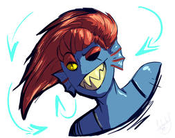 Fish waifu (Undyne) by Aarops