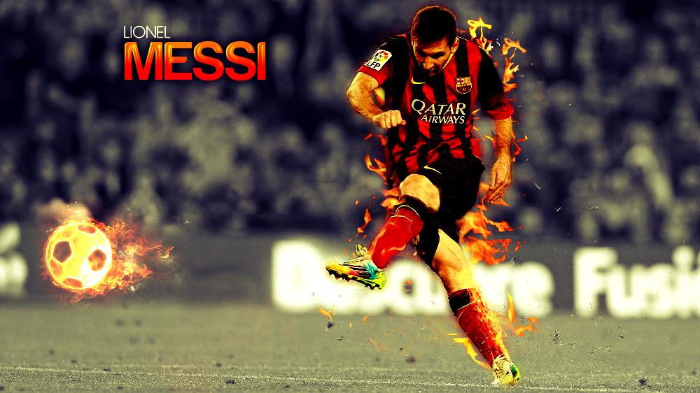 Lionel Messi 2014 Fire Wallpaper by RakaGFX on DeviantArt