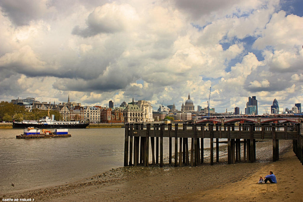 VIEW OF THE LONDON THAMES FROM THE SOUTH BANK by Tigles1Artistry