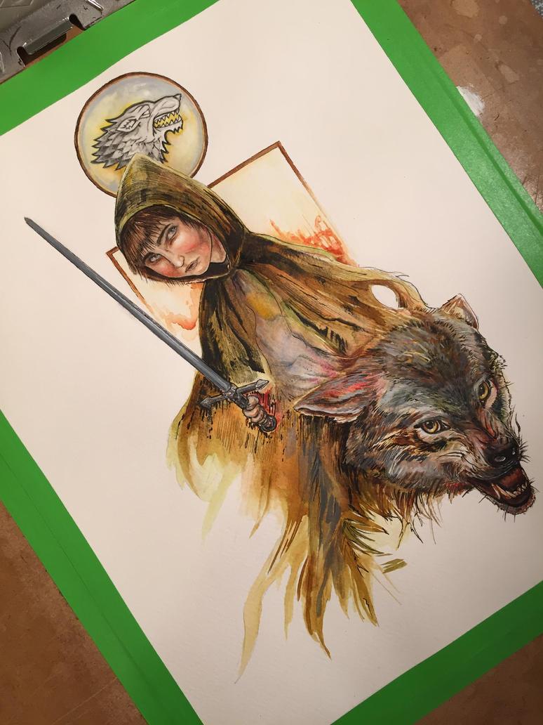 Arya Stark and Nymeria by ardentfem