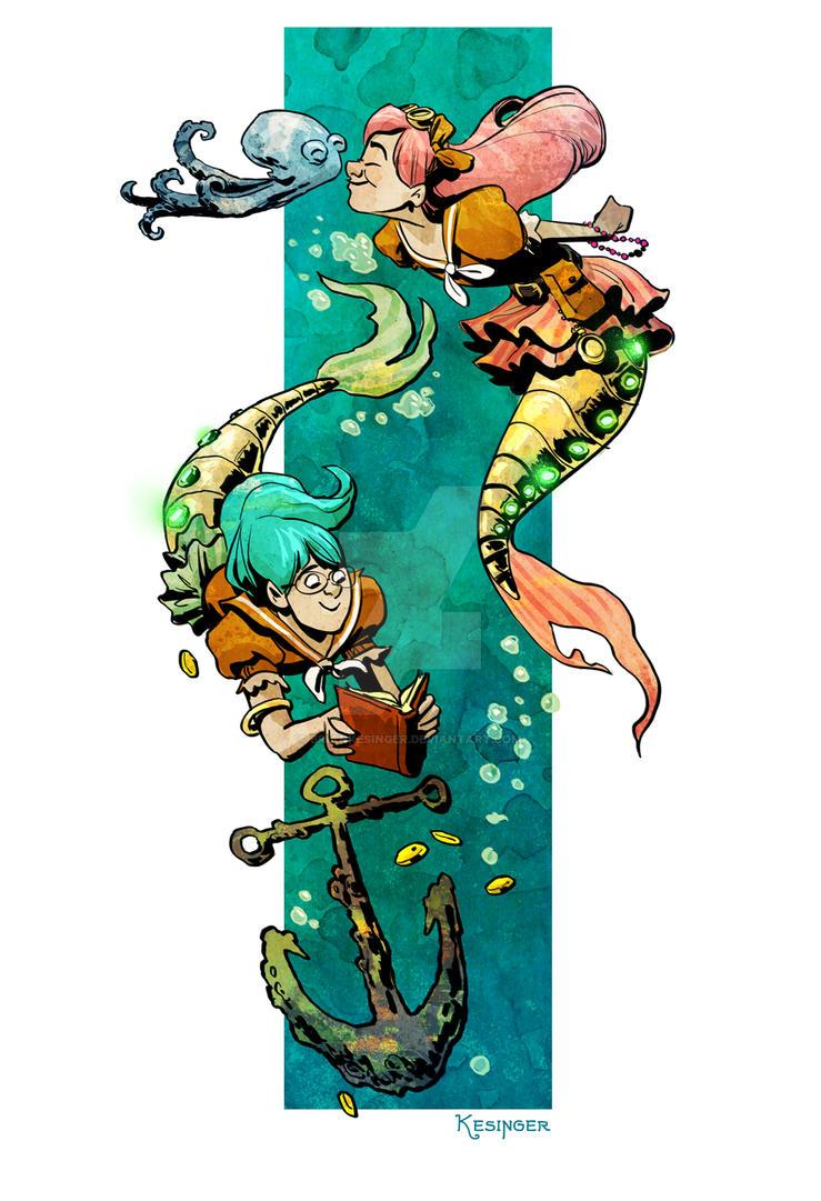 little steampunk mermaids by BrianKesinger