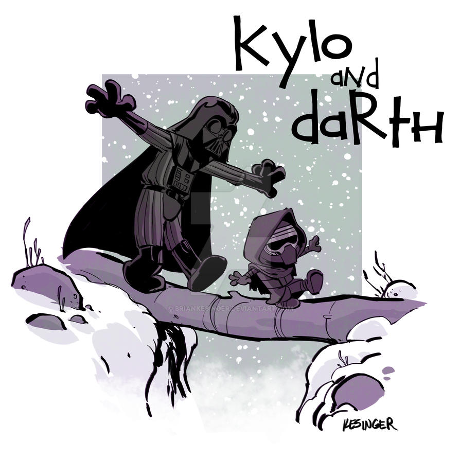 Calvin as Kylo ren and Hobbes as Darth Vader