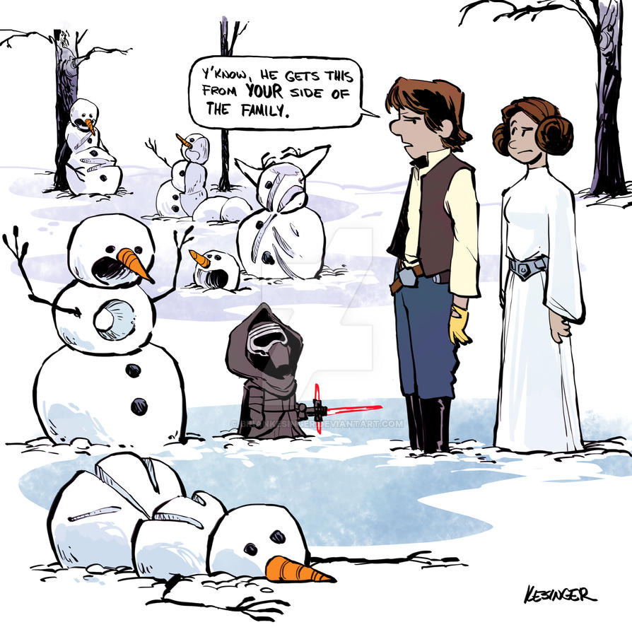 Han Solo and Princess Leia as Calvin's Parents