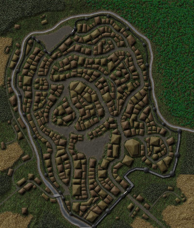 Medieval Town Map by GarrettDMorrison