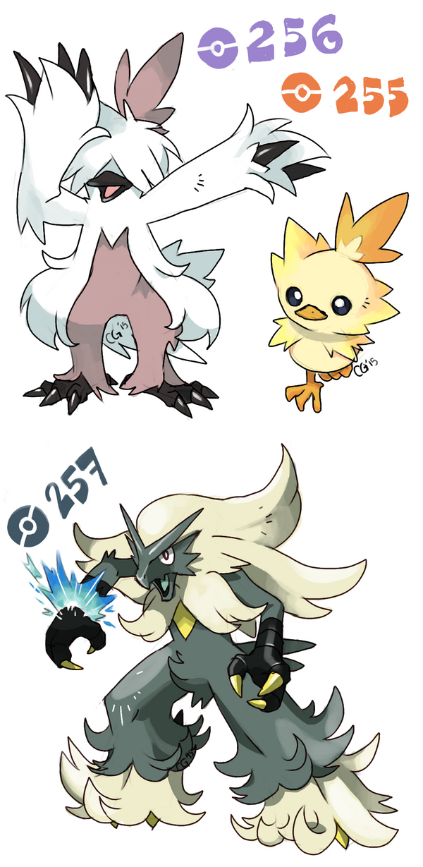 TORCHIC starter line variations by pumpkinking3001