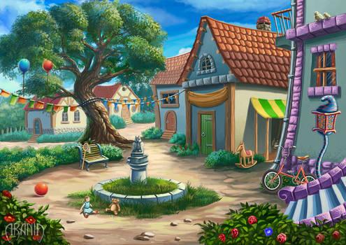 Courtyard childhood