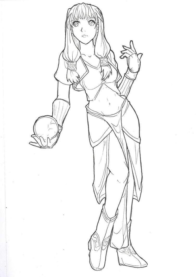 Line Drawing Female : Female mage lineart by skatora on deviantart