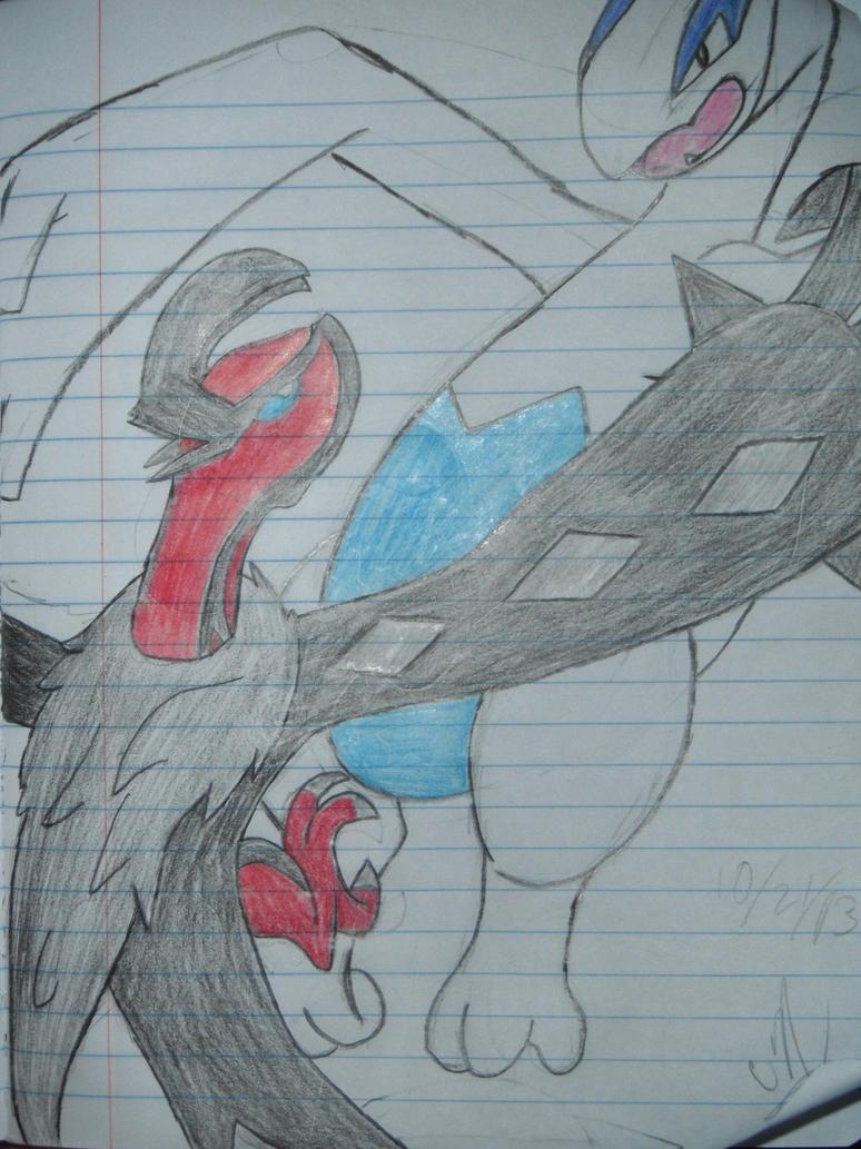 Lugia Vs Yveltal Sketch By Sapphiredragon49