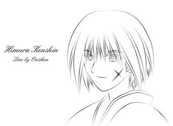 Kenshin Himura lineart by Oniikun