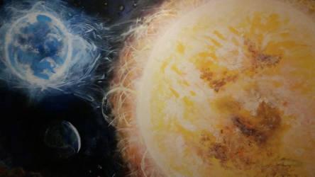 Bianary Star System Mural by Dragonhumanoid